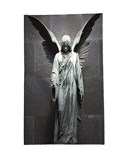 Interestlee Fleece Throw Blanket Sculptures Decor Collection Sculpture of an Angel with Dark Background Catholic Belief Century Old Artwork Pattern Dimgrey by Interestlee