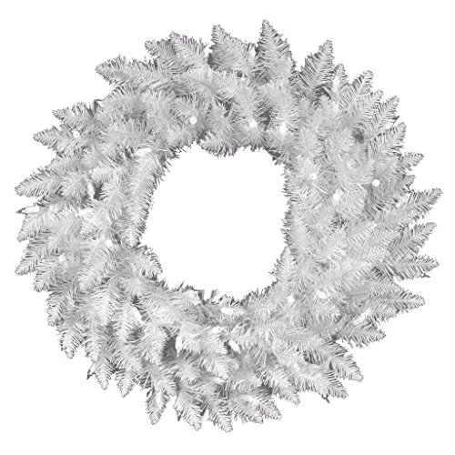 Vickerman Pre-Lit Spruce Wreath with 100 Clear Dura-Lit Lights, 36-Inch, Sparkle White (Pre Lit Spruce Wreath)