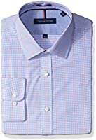 Tommy Hilfiger Men's Slim Fit Non Iron Exploded Check Dress Shirt