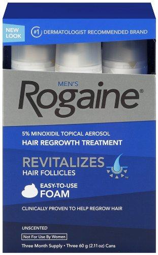 Rogaine pour les hommes repousse des cheveux traitement, 5% minoxidil topique en aérosol, facile à utiliser de la mousse, 2,11 once, 3 mois d'approvisionnement (emballage peut varier)
