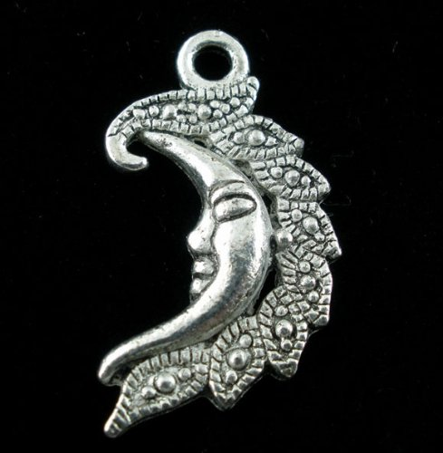Moon Face Charm - PEPPERLONELY 20pc Antiqued Silver Alloy Half Moon Face Carved Charms Pendants 27x15mm (1-1/8