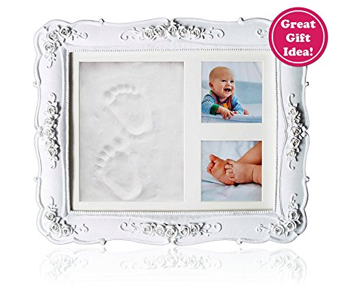 Great Baby Gift Idea for Baby Shower, Registry, Home or Nursery Decoration Handprint Footprint kit for Newborn Boys Girls and Pets Memorable Keepsake Box or Baby Picture Frame