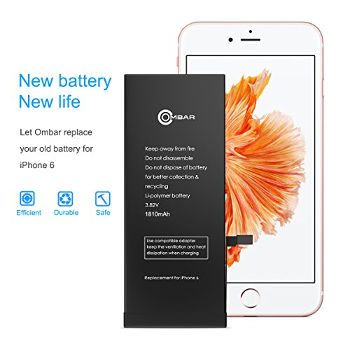 iPhone 6 Battery, Ombar Apple iPhone 6 Battery Replacement 1810mAh with Complete Repair Tools Kit, Adhesive, and Instructions Brand New 0 Cycle by Ombar (Image #2)