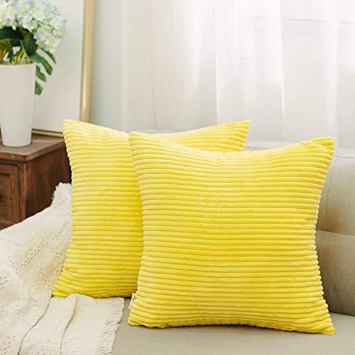 NATUS WEAVER 2 Packs Striped Corduroy Euro Throw Pillow Sham Couch Cushion Cover for Teen Girls, 24 x 24 inch (60 cm), Yellow