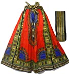 Decoraapparel Women African Dashiki Print Casual A Line Maxi Skirts Cotton Bright Colors One Size