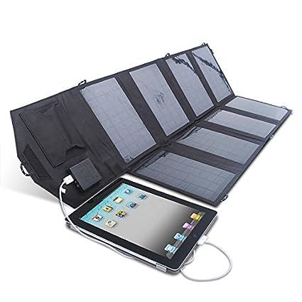 Cargador con panel solar ultraligero, 28W/5 V, 2,1 A y 2,5 A RAV, doble puerto USB de alta conversión de energía solar, portátil, plegable, potente e ...