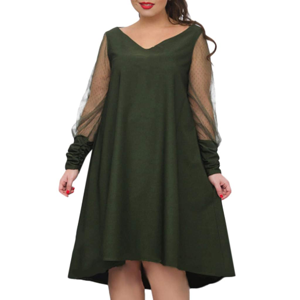 Plus Size Women Long Sleeve Baggy Midi Dress Ladies Party V Neck Lace Tunic Dress Top 2XL-6XL (Army Green, XXXXXL)