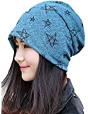 Qunson Women's Lightweight Stars Print Turban Skull Beanie Cap Hat