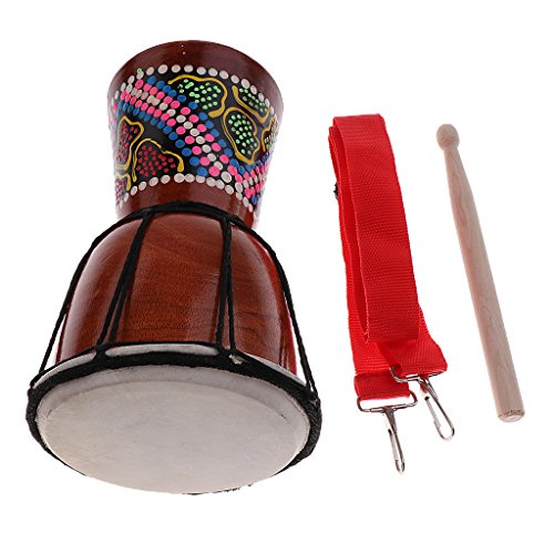 MagiDeal 4 inch Djembe Darbuka African Bongo Hand Drum Dance Drum for Musical Lovers 11.81 x 4.53inch by non-brand