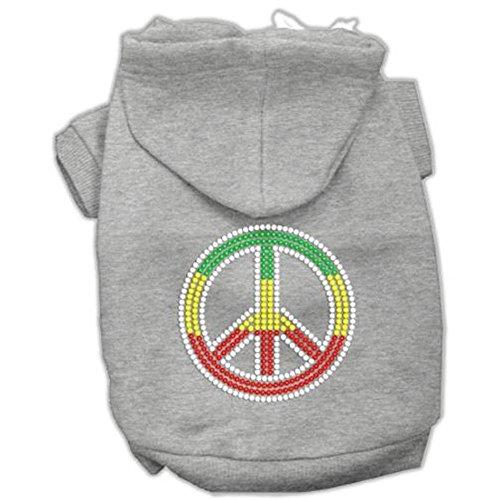 Rasta Peace Sign Dog Hoodie Grey XS (8)