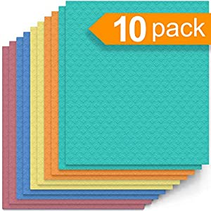 Swedish Dishcloth Cellulose Sponge Cloths – Bulk 10 Pack of Eco-Friendly No Odor Reusable Cleaning Cloths for Kitchen…