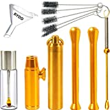 Copper snuff bottle Copper spoon Snuff bullet Glass bottle with spoon Suction Tube Cleaning brush