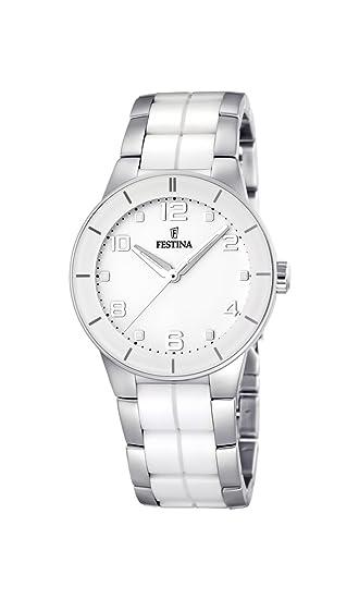 Festina Trend Ceramic F16531/1 - Reloj analógico de cuarzo para mujer, correa de cerámica color blanco: Festina: Amazon.es: Relojes