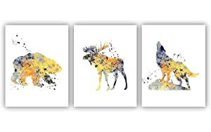 Lounge Wall Decor, Woodland Animals, Bear, Moose, Wolf Set of 3 Art Prints