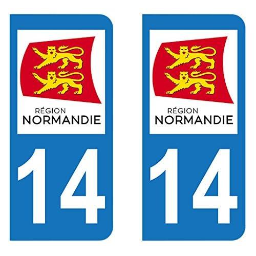 Autocollant immatriculation 14 - Nouvelle région Normandie