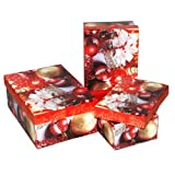 Xmas Gift Box, 3pc Set, Red, Rectangular, Case of 24