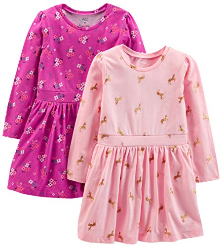 Simple Joys by Carter's Girls' Toddler 2-Pack Long-Sleeve Dress Set, Floral/Horses, 4T