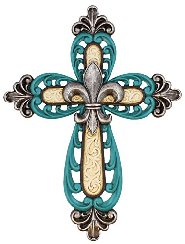 (Ornate Fleur De Lis Decor Wall Mount Cross - Scrolly Art Details - Teal and White with Silver Accents)