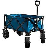 Timber Ridge Folding Camping Wagon/Cart - Collapsible Sturdy Steel Frame Garden/Beach Wagon/Cart