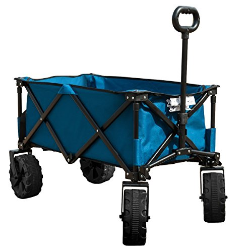 Timber Ridge Folding Camping Wagon Cart   Collapsible Sturdy Steel Frame Garden Beach Wagon Cart