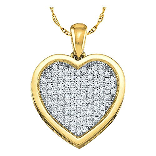 - Diamond Cluster Small Heart Love Pendant 1/20ct 10k Yellow Gold