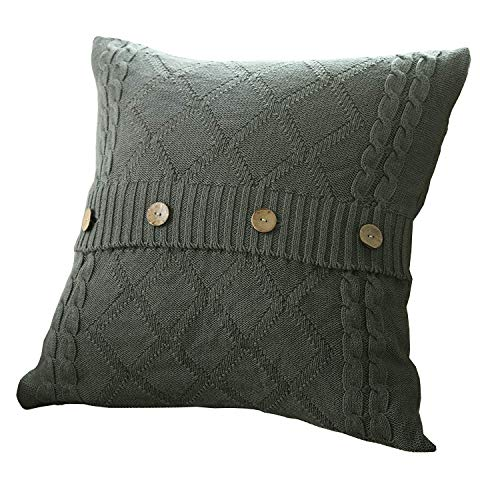 (U'Artlines Cotton Knitted Decorative Pillow Case Cushion Cover Cable Knitting Patterns Square Warm Throw Pillow Cover (Grey, 18x18))