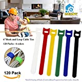 "120pc 6 inch Cable Straps, Mekov, Hook and Loop Reusable Fastening Cable Ties Cord Wire Organizer for Home Office Tablet PC TV Wire Management (120 Pack, 6"", Six Colors)"