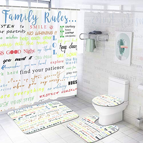 4 Pcs Family Rules Educational Shower Curtain Set with Non-Slip Rug, Toilet Lid Cover, Bath Mat and 12 Hooks…