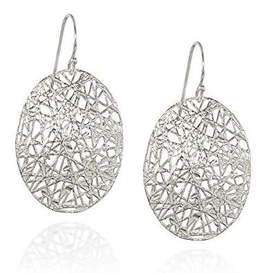 8b6aa6e288 Amazon.com  Impressive 925 Sterling Silver Oval Dangle Earrings with ...