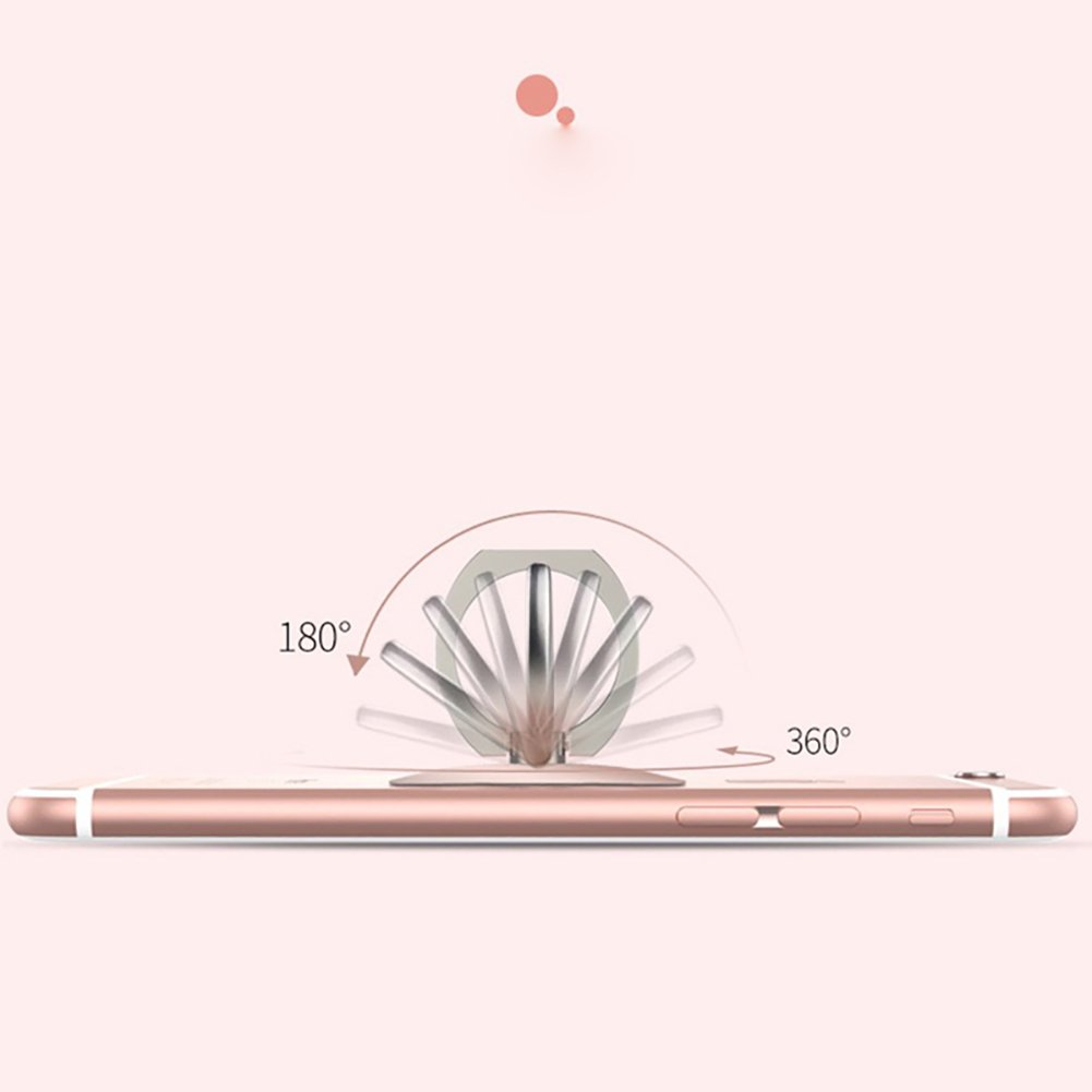 Phone Finger Ring Stand Holder 360° Rotation Universal Cellphone Slacker Stent Phone Bracket for iPhone Smart-phone and Tablets (Pink)