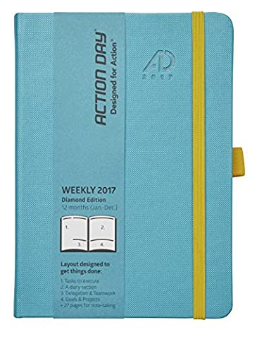 Action Day Layout Designed to Get Things Done - Weekly Daily Monthly Yearly Calendar Journal, 6x8 Inch - 2017 (JAN-DEC) (Turquoise)