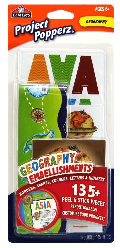 Elmer's Project Popperz Geography Embellishments, 135 Peel and Stick Pieces, Multicolored (E3073)]()
