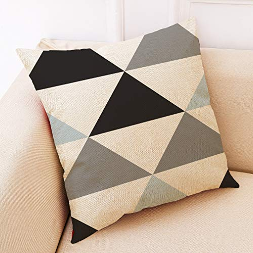 RLJJCS Fashion Soft and Warm Geometric Home Cotton and Linen Pillowcase Car Pillow Sofa Pillow Cushion Pillow (Color : E, Size : 4545 Polyester)