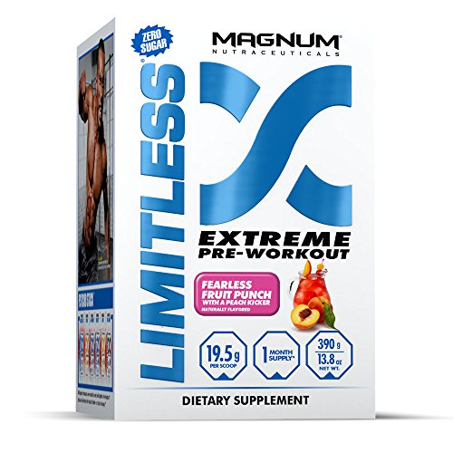 Magnum Nutraceuticals Limitless - 20 Servings - Fruit Punch - Extreme Pre-Workout - Intensity & Energy - Recovery & Strength by Magnum