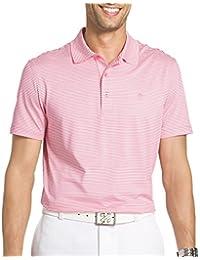 Golf Mens Mini Striped Performance Polo Shirt Pink lemonade