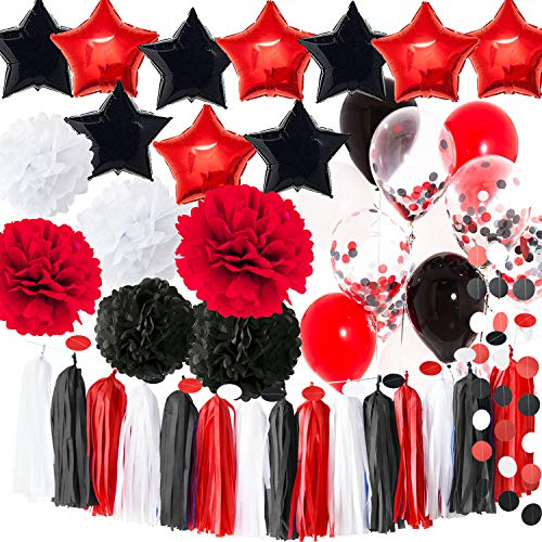 2019 Graduation Party Decorations White Black Red Balloons Pirate Birthday Party Decorations/First Birthday Girl Decorations White Red Black Minnie Mouse Birthday Party Decorations ()