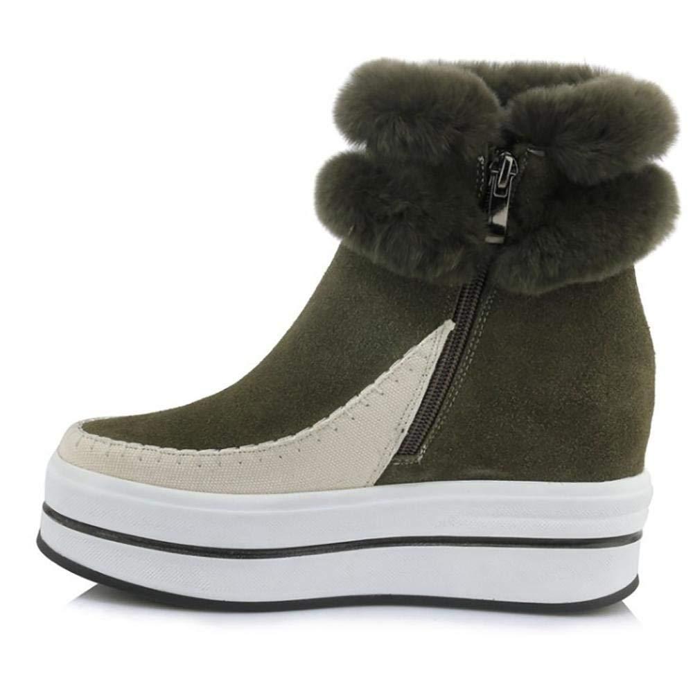 Fuxitoggo Damen Schneestiefel Winterstiefel Winter Winter Winter Schuhe mit Sportliche Stiefel (Farbe   Armeegrün, Größe   35) 9dc46c