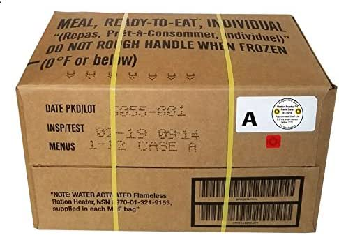 Western Frontier MRE 2019 Inspection Date Case, 12 Meals with 2019 Inspection Date, 2016 Pack Date. Military Surplus Meal Ready to Eat.