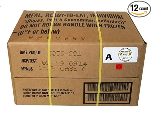 Western Frontier MRE 2019 Inspection Date Case, 12 Meals with 2019  Inspection Date, 2016 Pack Date  Military Surplus Meal Ready to Eat