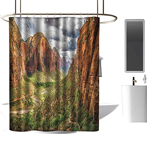 (Shower Curtains for Bathroom Polyester National Parks Home Decor,Utah Plateau Mojave Desert Southwest Erosion Native Aztec Artistic Print,Brown Green Washable Home Decoration Bath Curtains W108 xH72)