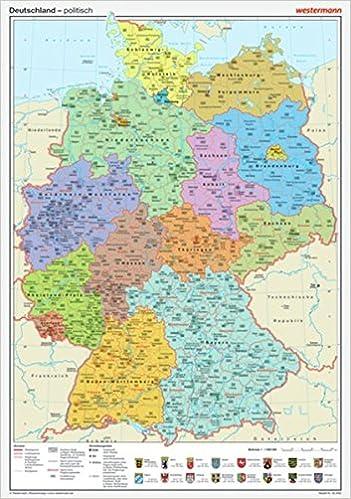 geographische deutschlandkarte Posterkarten Geographie: Deutschland: politisch: Amazon.de: Bücher