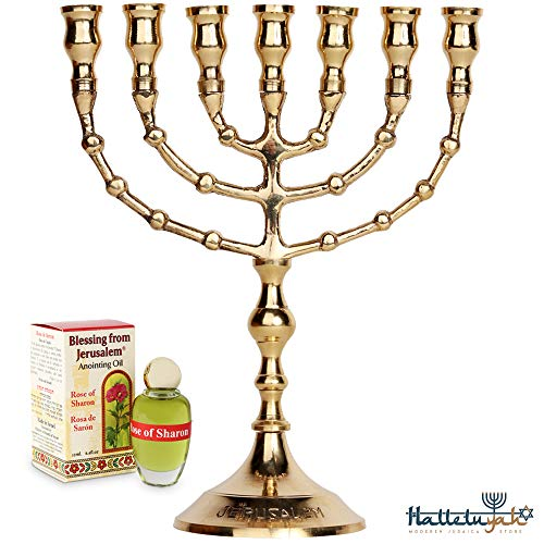 HalleluYAH Menorah 7 Branched Candelabra Plus Anointing Oil - Contemporary Design w/Jerusalem Engraved on The Base - Judeo-Christian Symbol - Made in Israel Made of Brass Copper - 8 Inches High ()