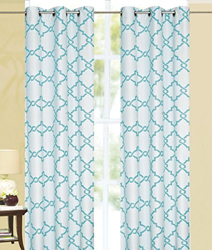 Qutain Diamond Chain Print Thermal Insulated 100% Blackout Window Grommet Curtain Panel (Turquoise)