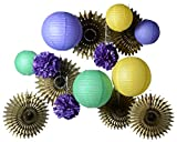 PAPER JAZZ 15PCS MARDI GRAS carnival party event paper decorations supplies hanging decor photo booth pros purple green yellow