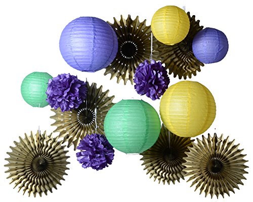 PAPER JAZZ 15PCS Mardi GRAS Carnival Party Event Paper Decorations Supplies Hanging Decor Photo Booth pros Purple Green Yellow (Mardi Gras Hanging)