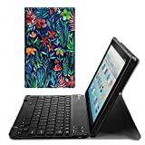 Fintie Keyboard Case for All-New Fire HD 10 (7th Generation, 2017 Release), Slim Lightweight Stand Cover with Detachable Wireless Bluetooth Keyboard for Amazon Fire HD 10.1'' Tablet, Jungle Night