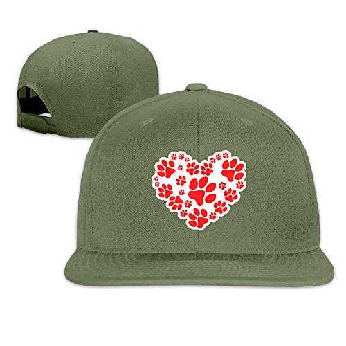 Cute Paw Heart Handprint Flat Snapback Baseball Hat For Men Women ForestGreen