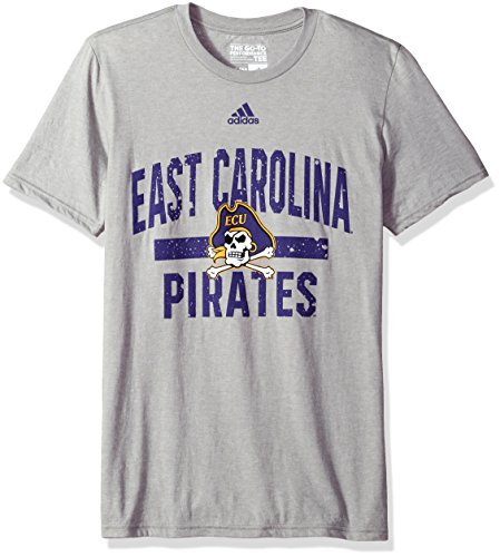 adidas NCAA East Carolina Pirates Workout Go-to Performance Short Sleeve Tee, Large, Medium Gray Heather