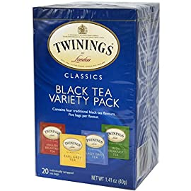 Twinings Variety Pack of Four Flavors, Tea Bags, 20-Count 71 Four expertly blended Twinings classic black tea flavors Includes English breakfast, Earl Grey, Lady Grey and Irish breakfast teas Wide variety of delicate to full-bodied teas; each a natural source of antioxidants