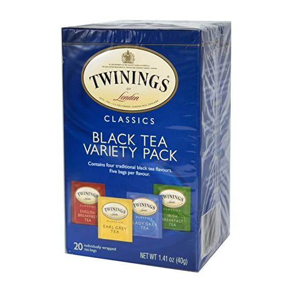 Twining Tea Tea Variety Pack 1 Four expertly blended Twinings classic black tea flavors Includes English breakfast, Earl Grey, Lady Grey and Irish breakfast teas Wide variety of delicate to full-bodied teas; each a natural source of antioxidants
